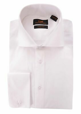 Steven Land Trim Fit Solid White Spread Collar French Cuff Cotton Dress