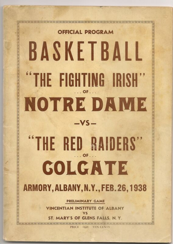 1937-38 Colgate-Notre Dame Program Ray Meyer Irish Captain NICE!!