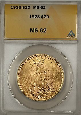 1923 $20 DOLLAR ST. GAUDENS DOUBLE EAGLE GOLD COIN ANACS MS 62 BP