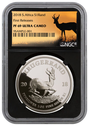 2018 S. Africa 1 oz Silver Krugerrand Proof R1 NGC PF69 UC FR Black SKU54385