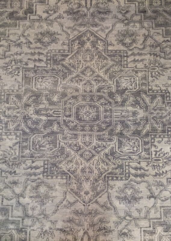 Handsome Heriz - Vintage Persian Design - Gray Traditional Tribal Rug 8 X 9.2 Ft