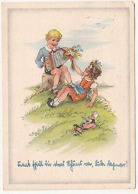 Akkordeon-mädchen (Künstler Ak Bube spiel Akkordeon Mädchen mit Blumenstrauß DDR 1954 (A2611 )