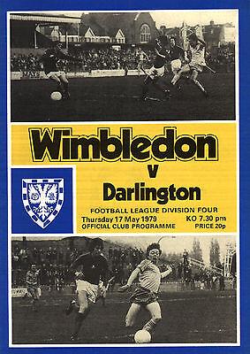1978/79 Wimbledon v Darlington, Division 4, PERFECT CONDITION