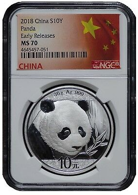 2018 China 10 Yuan Silver Panda Ngc Ms70   Early Releases   Flag Label