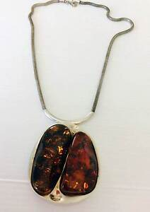 Handmade Baltic Sea amber pendant on silver chain from Poland Broadbeach Waters Gold Coast City Preview