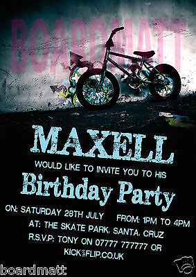 BMX Personalised Party Invitations x10 (9 Designs!) Extreme Urban Cool! - Personalized Party Invitations