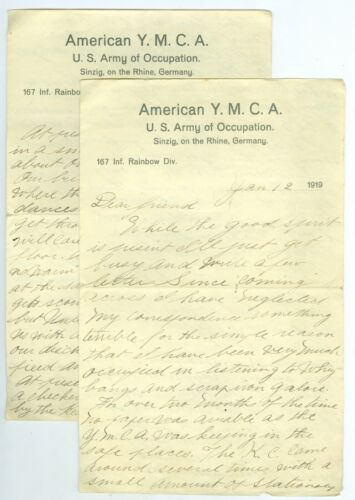 Jan 12, 1919, Great Content US 167th Inf Rainbow Div. Sinzig, Rhine, Germany Ltr