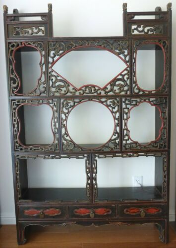 ANTIQUE CHINESE CARVED DISPLAY CABINET