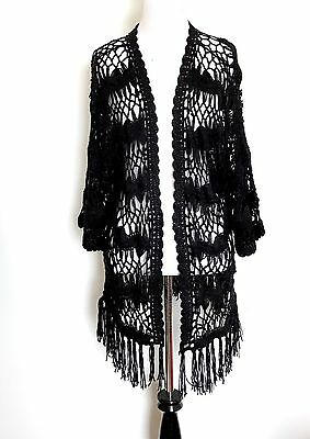 Superdry Black Crochet Cardigan / Cover Up  Size M Retail $54.50 Price $42