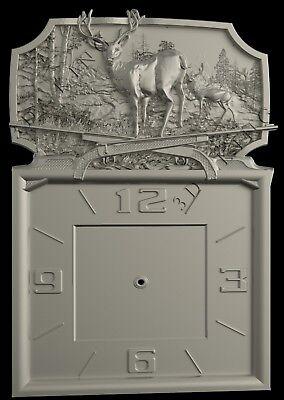 3D STL Model # WALL CLOCK DEER 2 # for CNC Aspire Artcam 3D Printer 3D MAX Rhino ()
