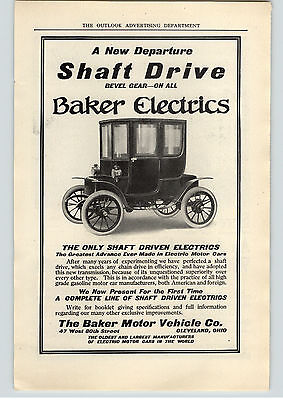1909 Paper Ad Baker Electrics Shaft Driven Electric Car  Maxwell Brisco Runabout