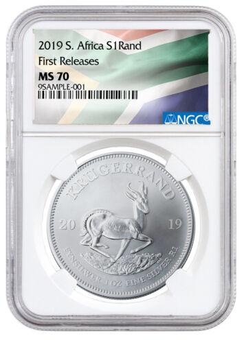 2019 South Africa 1 oz Silver Krugerrand NGC MS70 FR Flag Label SKU56607