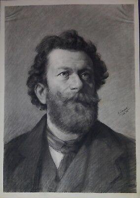 Herren Große Kohle (A. Schrack, Herrenportrait, große Kohlezeichnung, 1883)