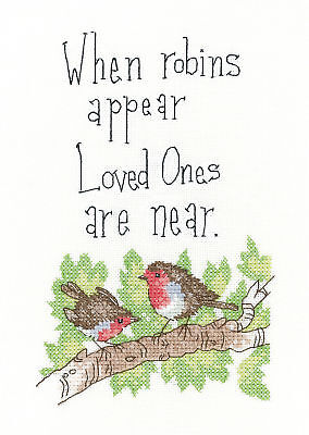 Heritage Crafts Peter Underhill Cross Stitch Kit - When Robins Appear