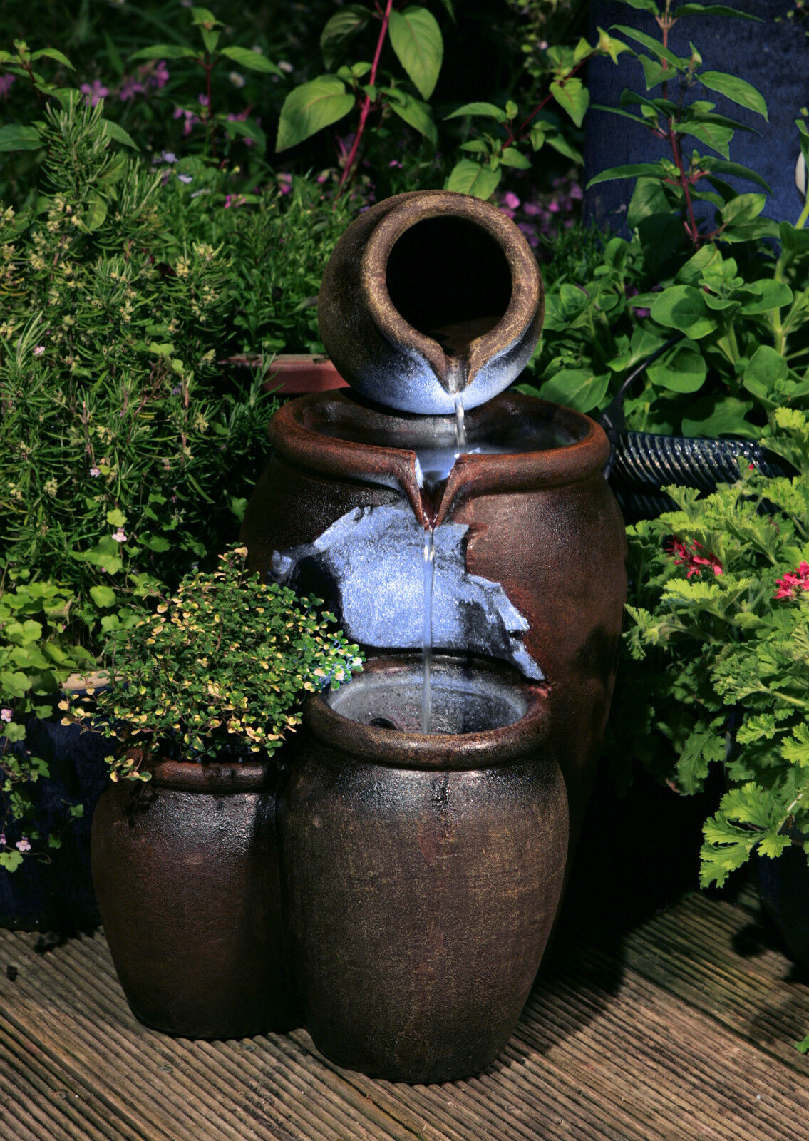 Fontaine Cascade Pot Miel Clairage Led De Jardin