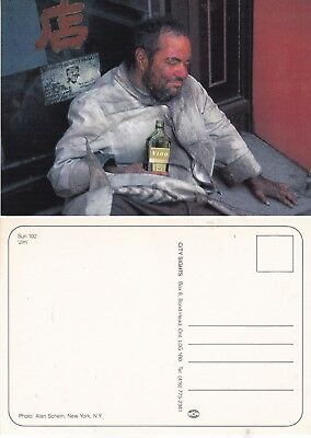 A DRUNK IN A DOORWAY FROM A PHOTOGRAPH BY ALAN SCHEIN NY UNUSED COLOUR POSTCARD