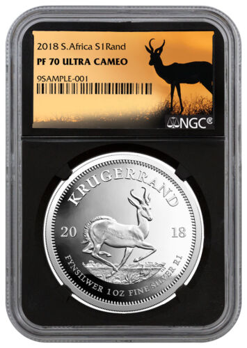 2018 South Africa 1 oz. Silver Krugerrand Proof R1 Coin NGC PF70 Black SKU56218