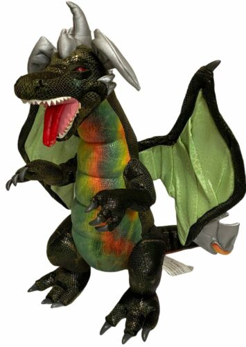 "Rare Kinderlov Green Dragon 21"" Tall 17"" Wingspan. All Talons, No Ear Wear Plush"