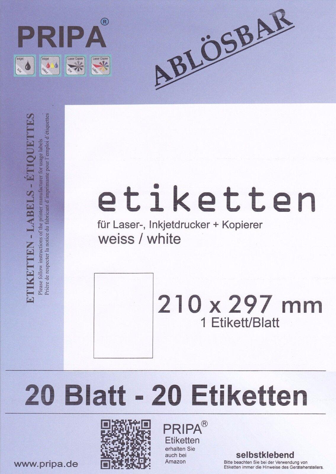Klebe-Etiketten ablösbar FORMATWAHL selbstklebend auf 210x297mm wiederablösbar