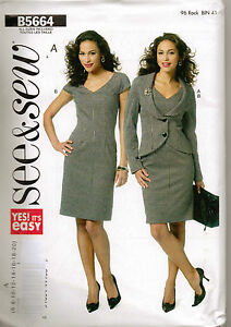 From UK Sewing Pattern Lady's Dress Jacket  6-20 Butterick #5664