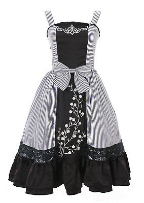 eift Dark Gothic Lolita Kleid Kostüm dress Cosplay stretch (Gestreiftes Kleid Kostüm)