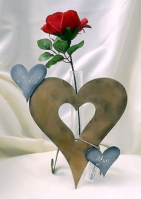 "Made-in-the-USA Metal Heart-Shaped Flower Vase with ""I Picked You"" Inscription"