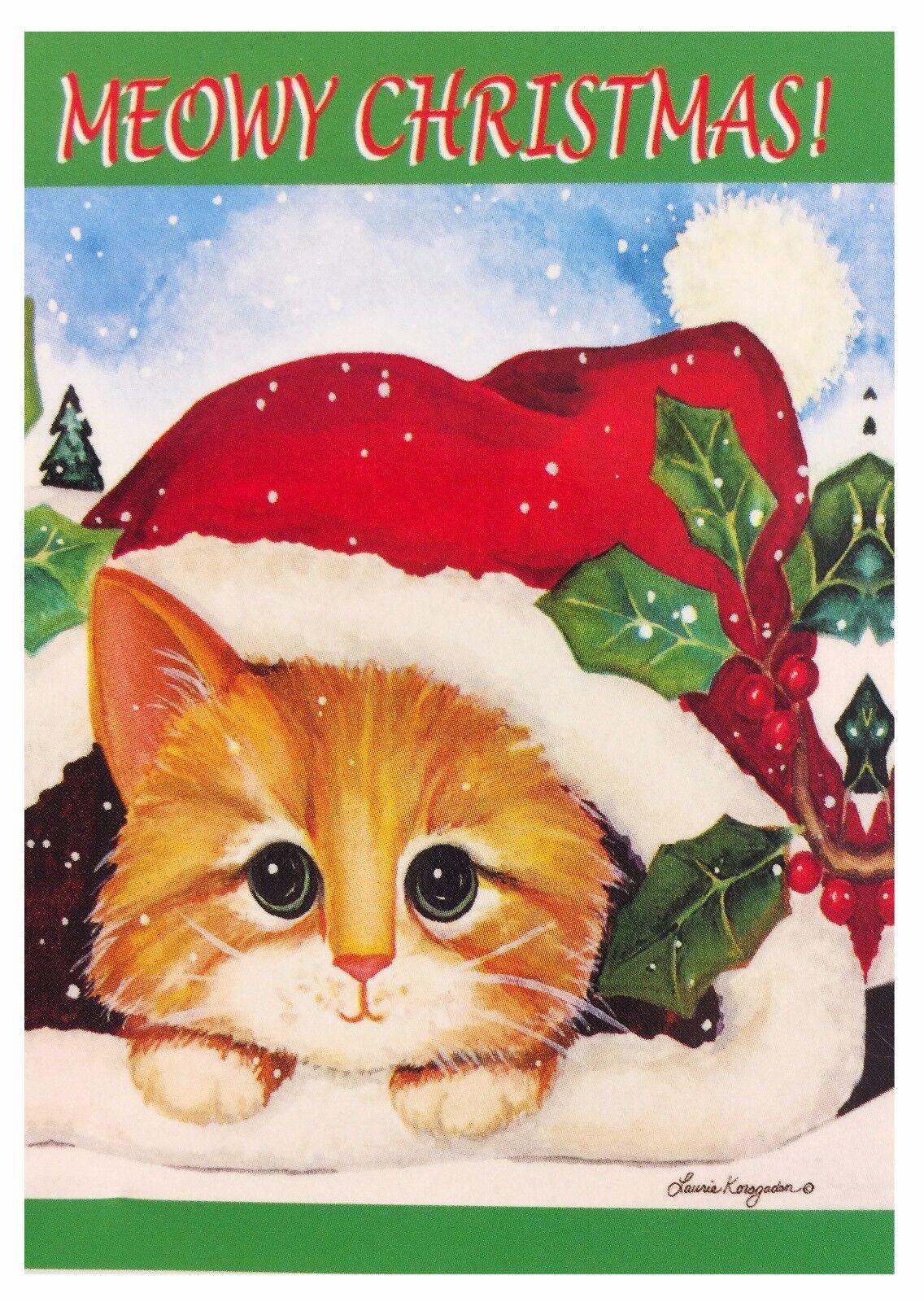"Cat with Santa Hat Garden Flag 12""X18"" Designer Decorative F"