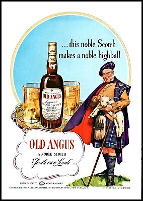 1940 Old Angus scotch whisky scotsman lamb distillery vintage art Print Ad  (Scotch Whisky Distilleries)