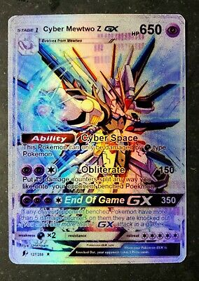 POKEMON: CYBER MEWTWO Z GX - FULL ART HOLO CUSTOM ORICA CARD - NOT TCG READ DESC