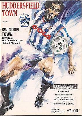 Huddersfield Town v Swindon Town - League Cup - 29/10/1991 - Football Programme