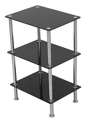 Black Glass 3 Tier Wide Shelving Unit Shelf Storage Cabinet Metal Chrome Legs