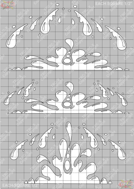 TRC8576W Real Drips Hobby Water Painting Stencil Craft Airbrush Mask