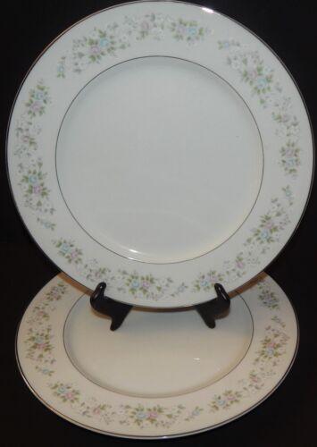 "2 Carlton Corsage Silver Rim White Dinner Plates 10.5"" Fine China 481 Green Blue"