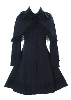 Kostüme Cape Schwarz (JL-658 Cape Übergangs-Jacke Trenchcoat schwarz Victorian Kostüm Gothic Lolita)
