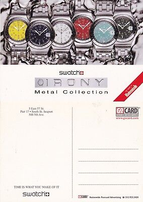 SWATCH IRONY COLLECTION WATCHES UNUSED ADVERTISING COLOUR  POSTCARD