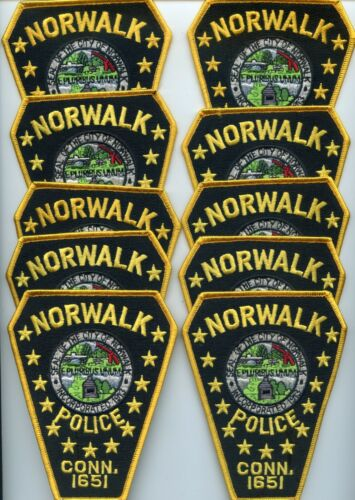 NORWALK CONNECTICUT Patch Lot Trade Stock 10 Police Patches POLICE PATCH