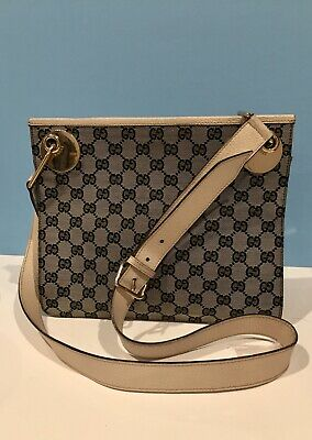 GUCCI GG Pattern Canvas Leather Navy Crossbody Shoulder Bag 100% Authentic