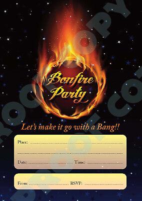 #82 BONFIRE NIGHT Pack of 10 guy fawkes kids children birthday party INVITATIONS - Birthday Bonfire