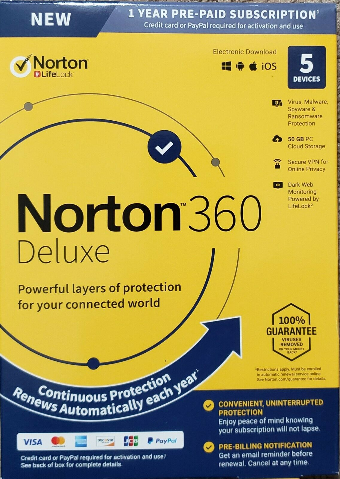 Norton 360 Deluxe 5 Devices VPN 50GB Secure PC Cloud Backup Keycard New!