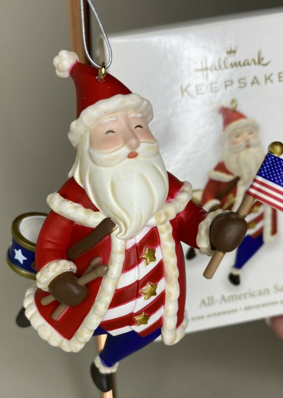 Hallmark Keepsake 2011 ALL AMERICAN SANTA  Christmas Ornament Patriotic Flag