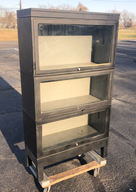 Vintage 3 Tier Metal Barrister Bookcase, Industrial Stacking Bookcase