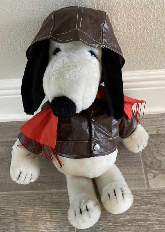 "VTG Peanuts Snoopy 1968 Dress Up  Red Baron Aviator 19"" Plush Dog Rare!!!!!"