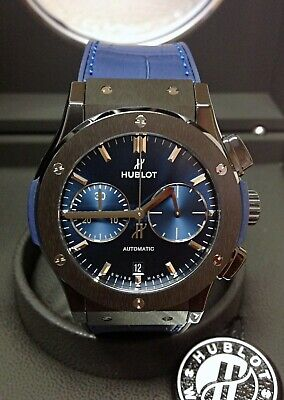 Hublot Classic Fusion Ceramic Blue Dial 521.CM.7170.RX 45mm 2019 WITH PAPERS
