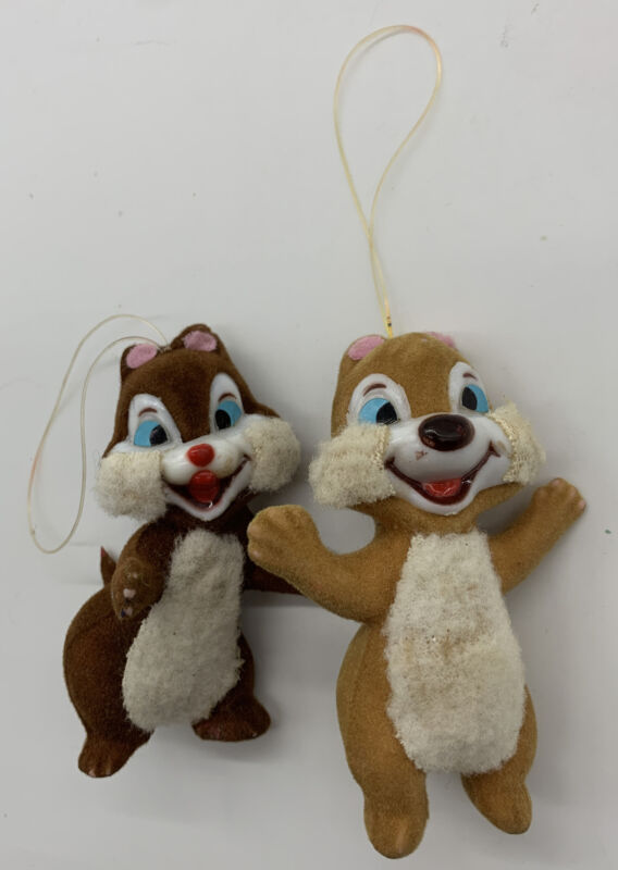 Vintage Plastic Chip & Dale Christmas Ornament Flocked Furry Made in Hong Kong