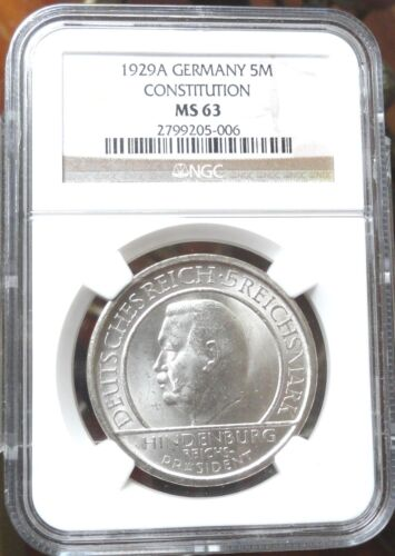 GERMANY,1929 A, 5 REICHMARK, NGC MS 63 , WEIMAR CONSTITUTION