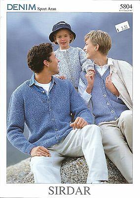 Denim Sport Aran Cardigan Knitting Patterns Sirdar Adult Teen #5804 24