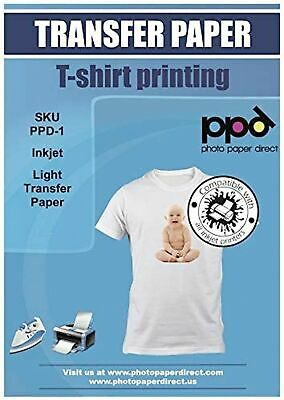 Ppd Inkjet Premium Iron-on White And Light Color T Shirt Transfers Paper Ltr ...