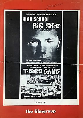 'T-BIRD GANG' 'HIGH SCHOOL BIG SHOT' - ROGER CORMAN '59 - FILMGROUP PRESSBOOK