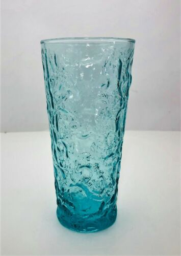 """Anchor Hocking Lido Milano Iced Tea Tumbler 6 1/2"""" Aquamarine 16oz Vtg Turquoise"""