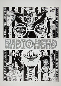 RADIOHEAD - HIGH QUALITY EARLY VINTAGE 1989 CONCERT POSTER-LOOKS GREAT FRAMED